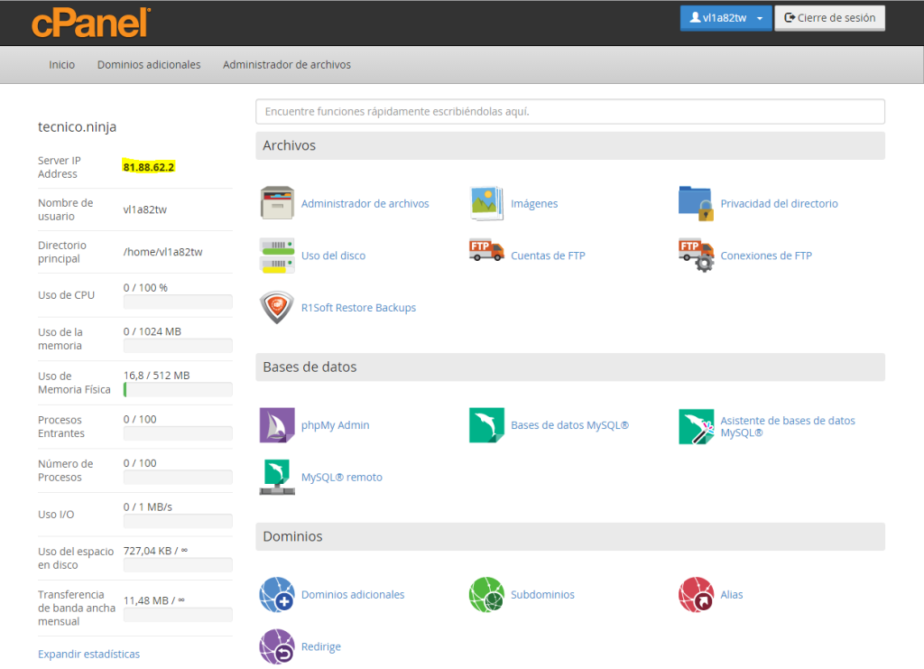 adreça ip hosting linux